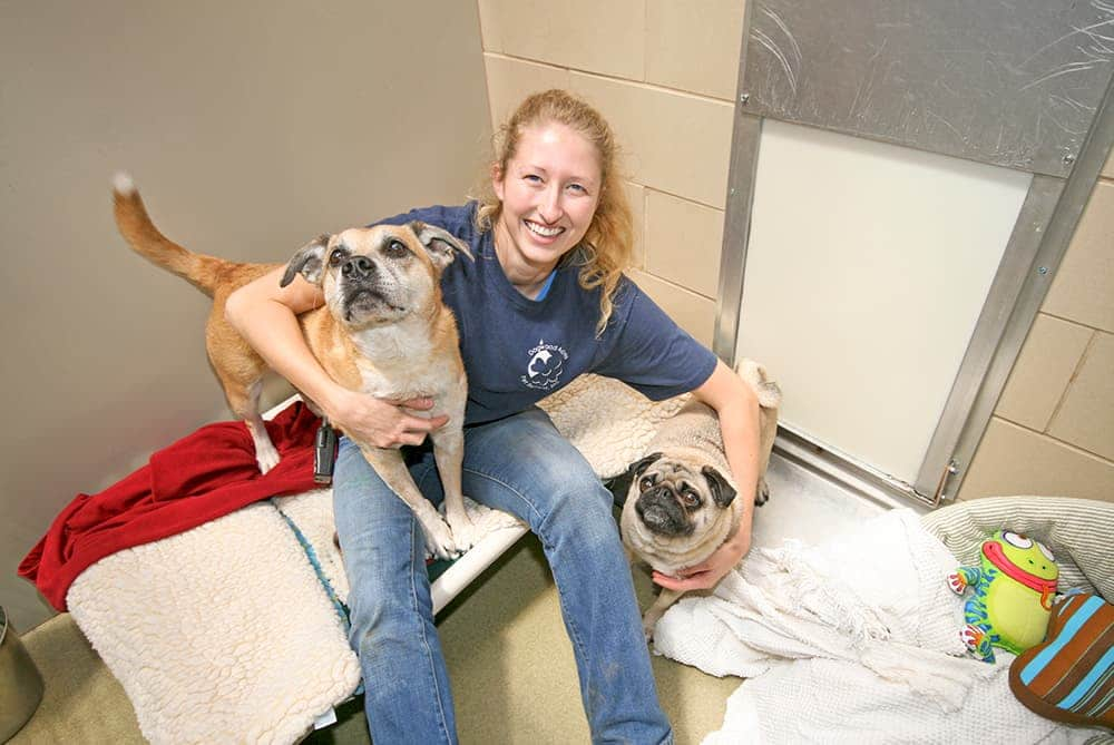 Dogwood Acres staff member holding two dogs
